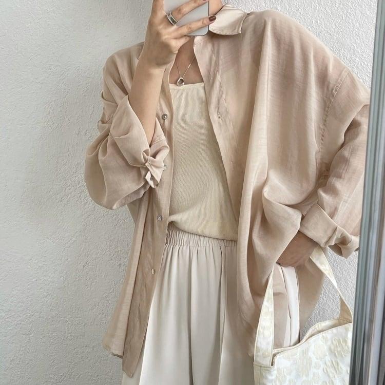 Ice cream color sheer shirt(アイスクリームカラーシアーシャツ)b-268