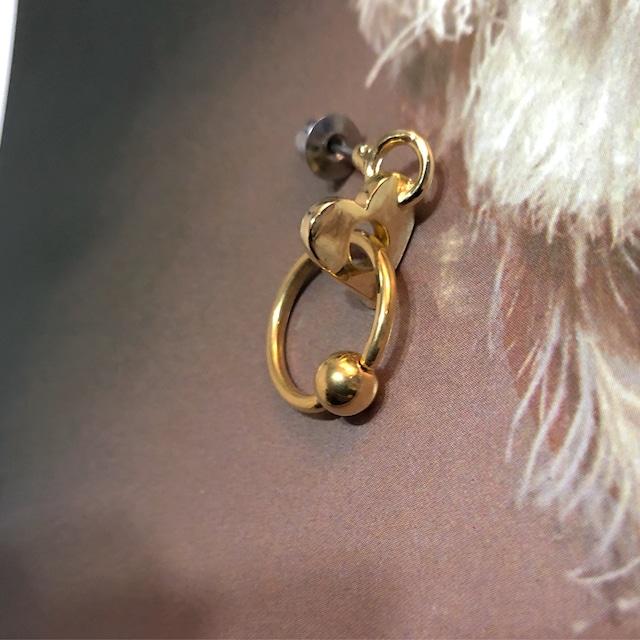 HEART HOLE bodypierced Earring片耳 gold #1752 ハートホールピアス/ゴールド