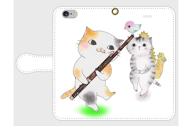 (iPhone用)ファゴット猫の手帳型スマホケース