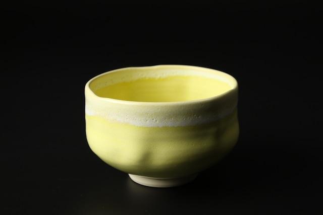 手捻り抹茶碗(黄釉) 清水焼