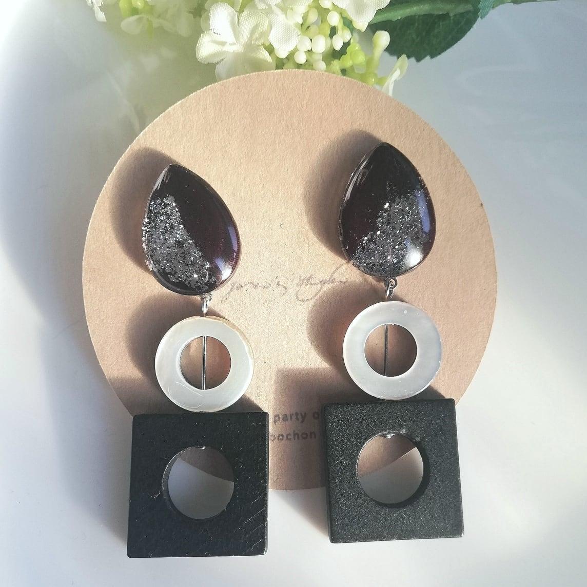 """ Earrings NO.0-1939″KIMONO×シェル×ウッド"