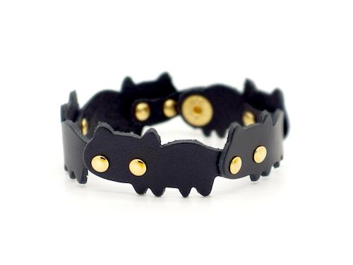 猫連合ブレスレット 黒ネコ(牛革製)
