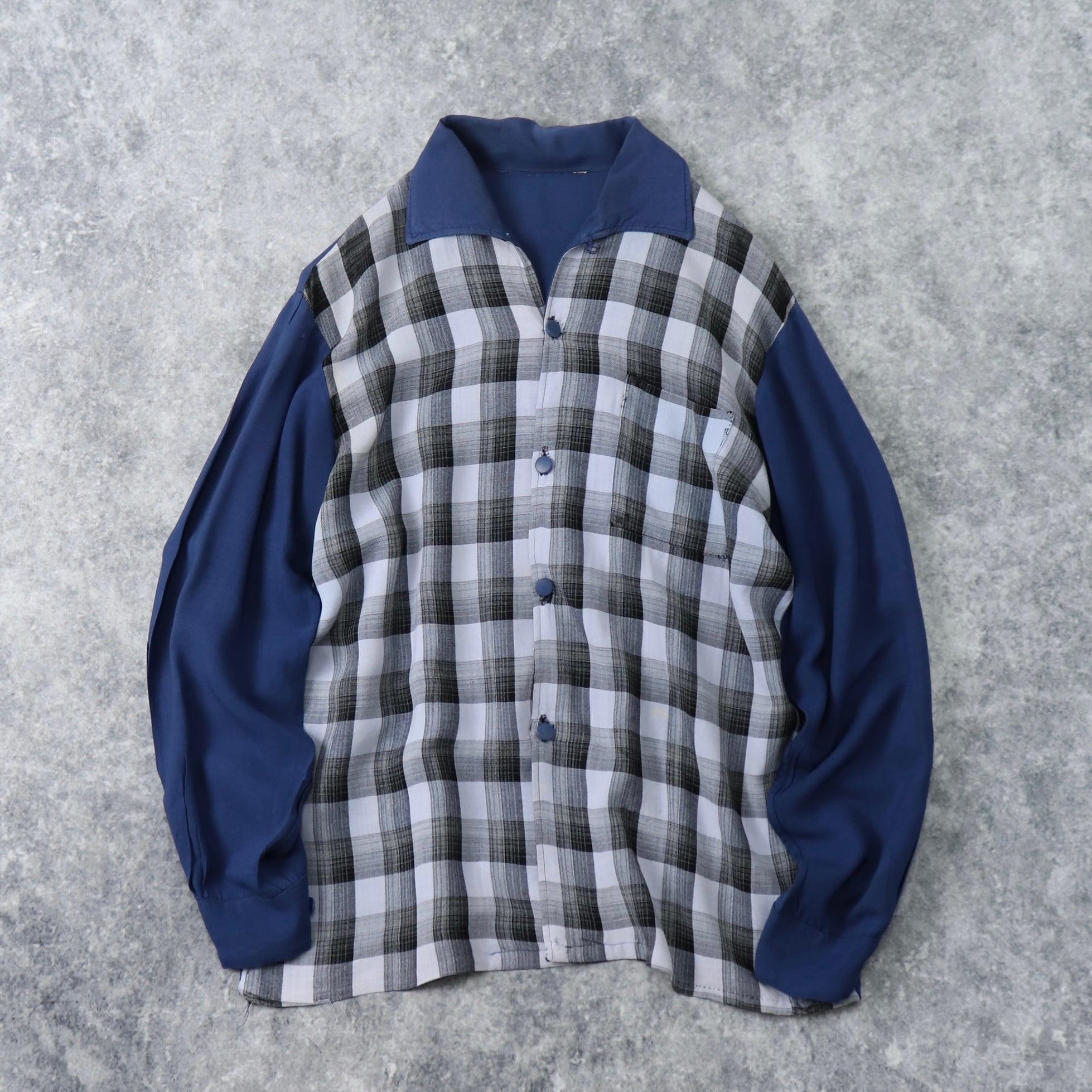 50~60年代 ヴィンテージ 切り替え チェック柄 オープンカラーシャツ メンズM A148