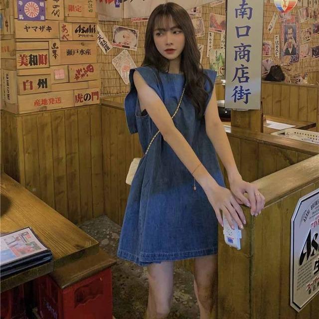 【ワンピース】韓国系ノースリーブラウンドネックAラインデニムワンピース46991053