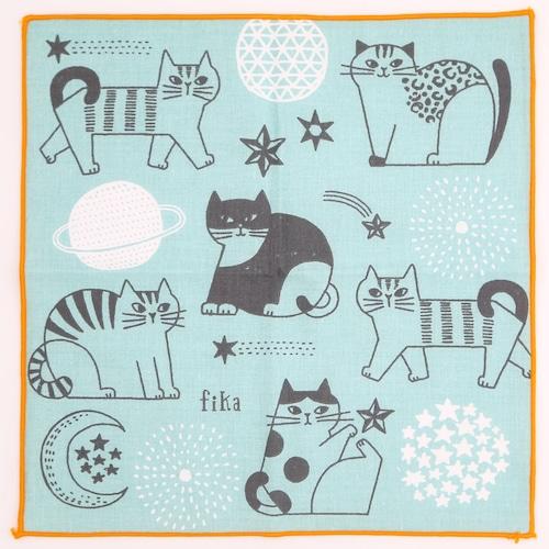 猫ハンカチ(FIKAハンカチ)猫と星