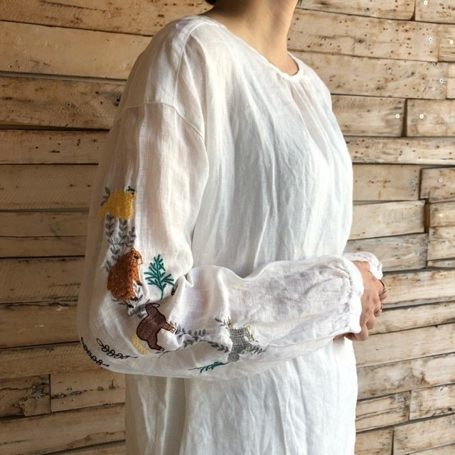 Topanga Lady's どうぶつ刺繍リネンブラウス