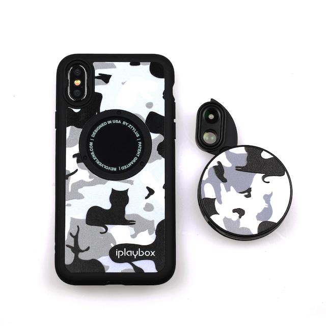 オフィシャルサイト限定販売【iPhone X & XS向け】6つのレンズを搭載したレンズ着脱型ケース「CAT柄」