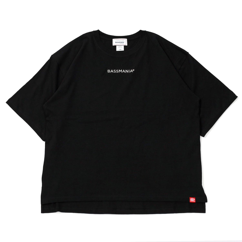 BASSMANIAロゴ刺繍ルーズシルエットTシャツ[BLK]