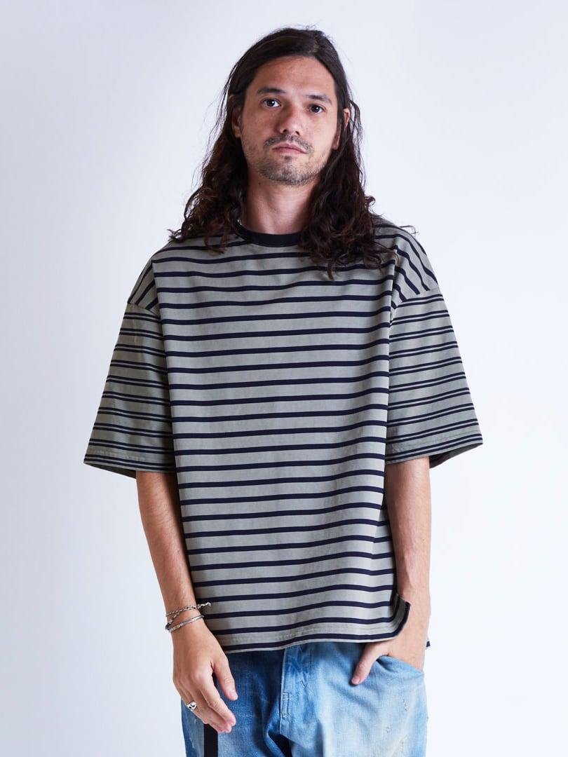 EGO TRIPPING (エゴトリッピング) MIX BORDER TEE ミックスボーダーTシャツ / SAND 663803-32