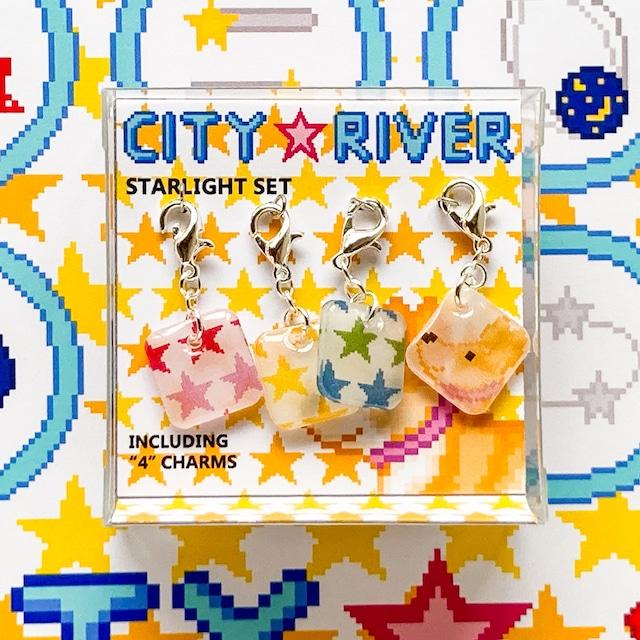 プラバン 星スター ドット絵 CITY RIVER チャーム 4点セット