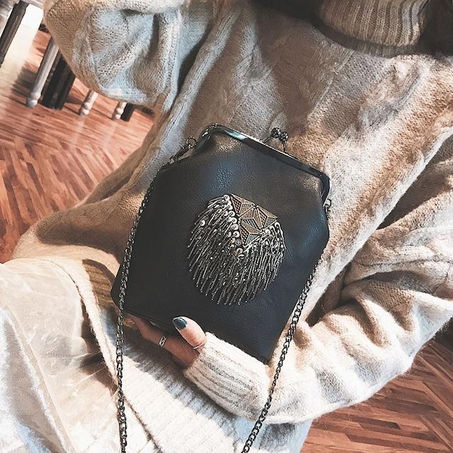 【バッグ】大注目ファッションタッセル切り替え差込錠肩掛けショルダーバッグ26824681