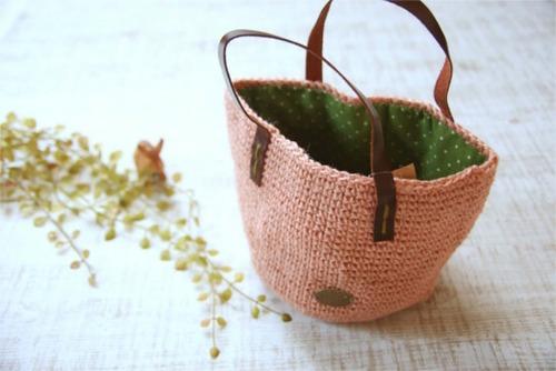 手編みの丸底バッグ*麻 ピンク/sakura 型番:B-15ピンク
