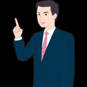 人差し指を立てる男性営業マン