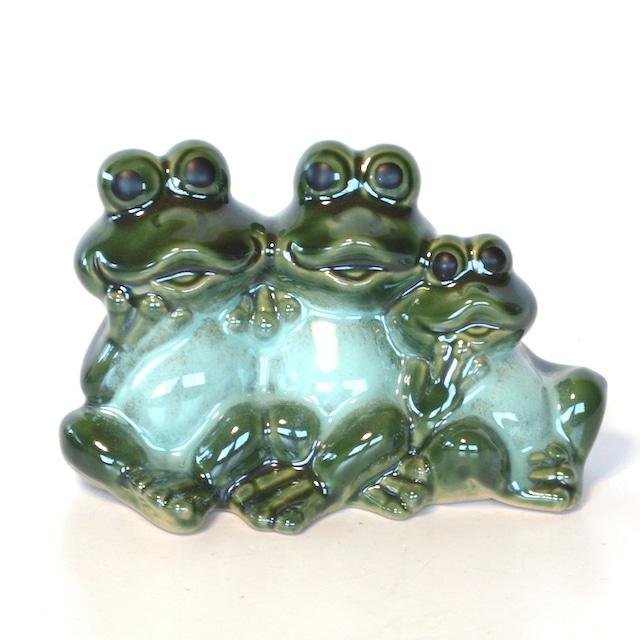 陶器 ファミリー蛙 かえる カエル 置物 幸運 お守り 金運祈願 贈り物 インテリア 風水 JS16246