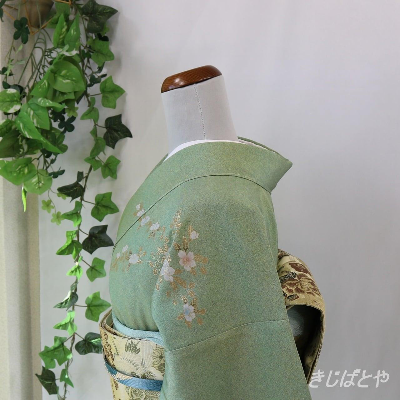 正絹 岩緑青に花の付け下げ 袷