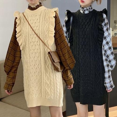 セットアップ チェックシャツ × ケーブルニット 韓国ファッション レディース 2点セット チェック柄 ニットワンピース ランタンスリーブ DTC-602628171034