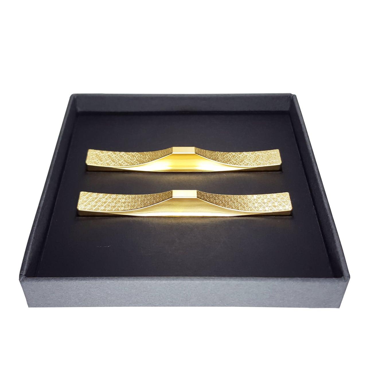 カトラリーレスト(芍薬・ツツジ)2個セットA/ステンレス(金メッキ) 縁起のいい世界遺産・富士山をモチーフにした箸置き・フォークレスト・ナイフレスト・スプーンレスト
