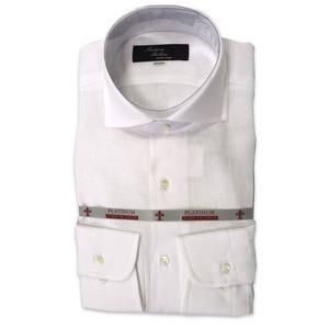 国産ワイドスプレッドカラーシャツ ホワイト リネン