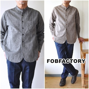 FOB FACTORY (FOBファクトリー) エフオービーファクトリー  F3471  ツイード バンドカラーシャツ 長袖シャツ