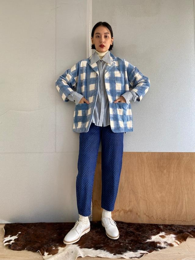 "Drop shoulder jacket ""block print big size gingham check blue"" cotton velvet"