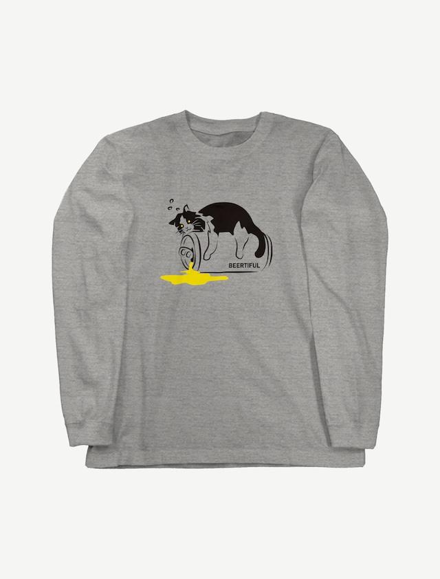【ほろ酔いにゃんこ】ロングスリーブTシャツ(ミックスグレー)