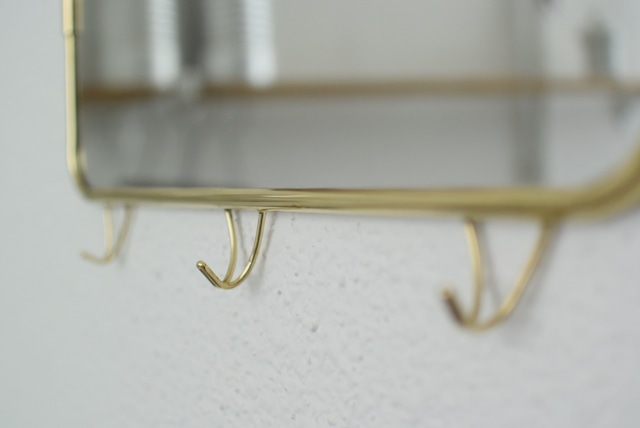 真鍮製フック付きミラー 横3連フック (※現行品です)