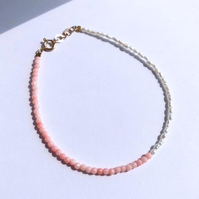 K10YG Pettit Coral x Seed Pearl Bracelet / チャリティージュエリー