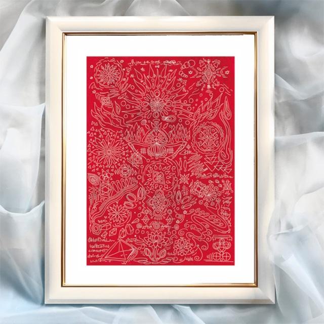 『赤の空間への感謝』【ヒーリング】太子サイズ 額入 ヒーリングアート