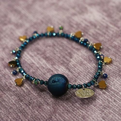 【COSMIC BLUE】ラピスラズリ×ブルードゥルージーアゲート×ブルーヘマタイト 〈フリンジ〉ブレスレット