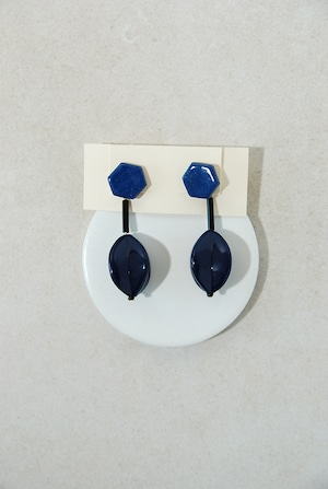 ピアス:  特製陶製タイル&アクリル 「静かに高揚」