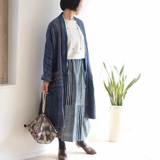 SALE★手織り綿のワンボタンドルマンコート【ブルーミックス】