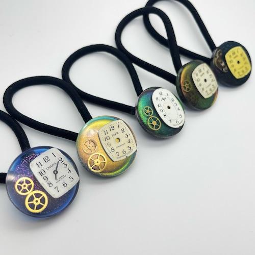 時計部品を愛でるヘアゴム(丸)