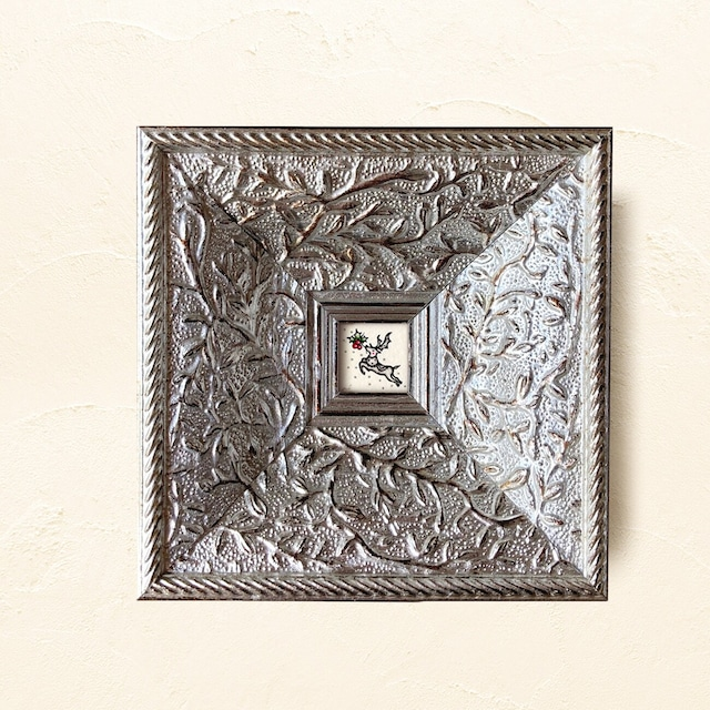 <残2点>ミニ額縁 原画 【 白銀の世界に、紅を点す 】アンティークシルバー frame