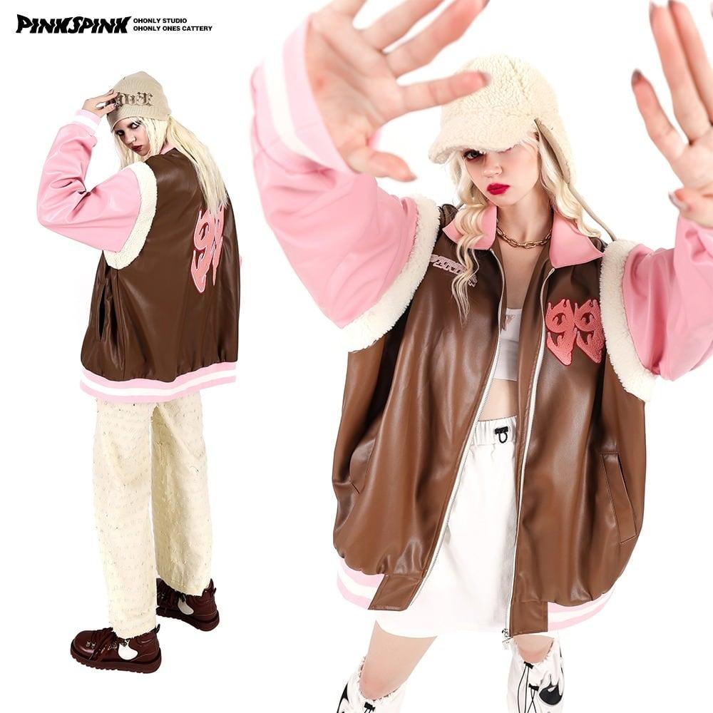 【PINKSPINK】ボア切り替えエコレザースタジャン