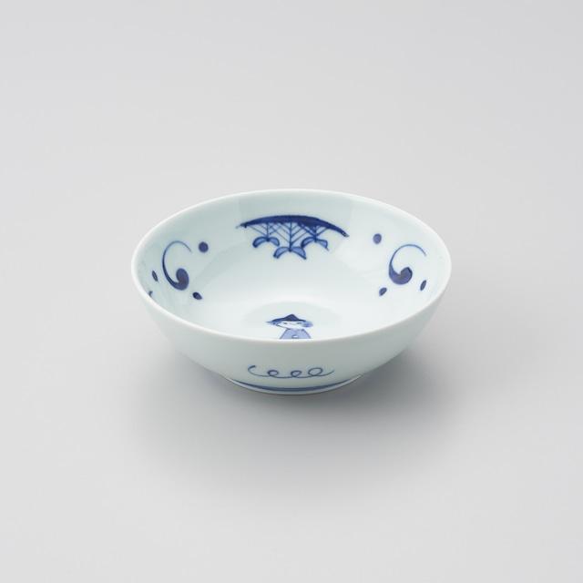 """【青花】""""船と異人"""" 5寸ボウル(マント異人)"""