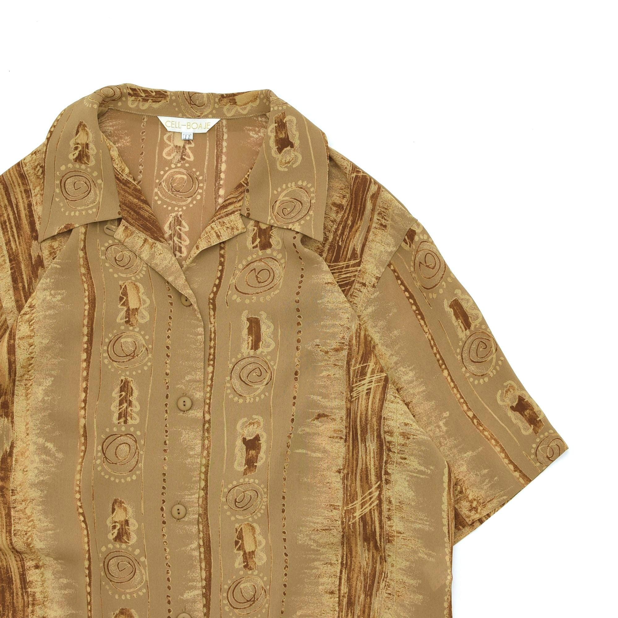 Jp vtg ancient mura open collar shirt