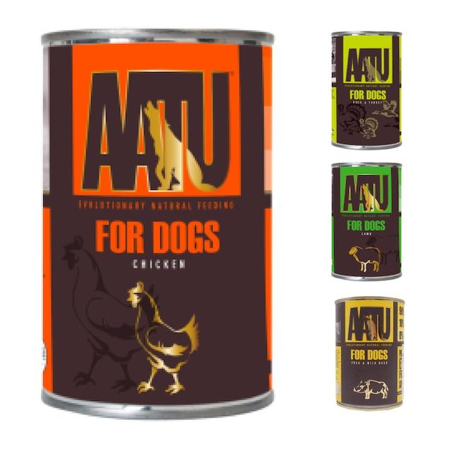 AATU(アートゥー)チキン, ビーフ&バッファロー, ラム, ダック&ターキー缶 400g