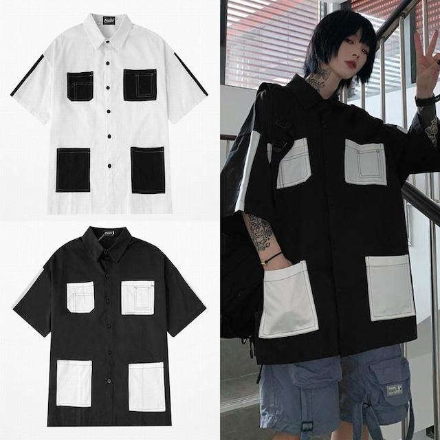 ユニセックス シャツ 半袖 メンズ レディース マルチポケット オーバーサイズ 大きいサイズ ルーズ ストリート TBN-613635062027