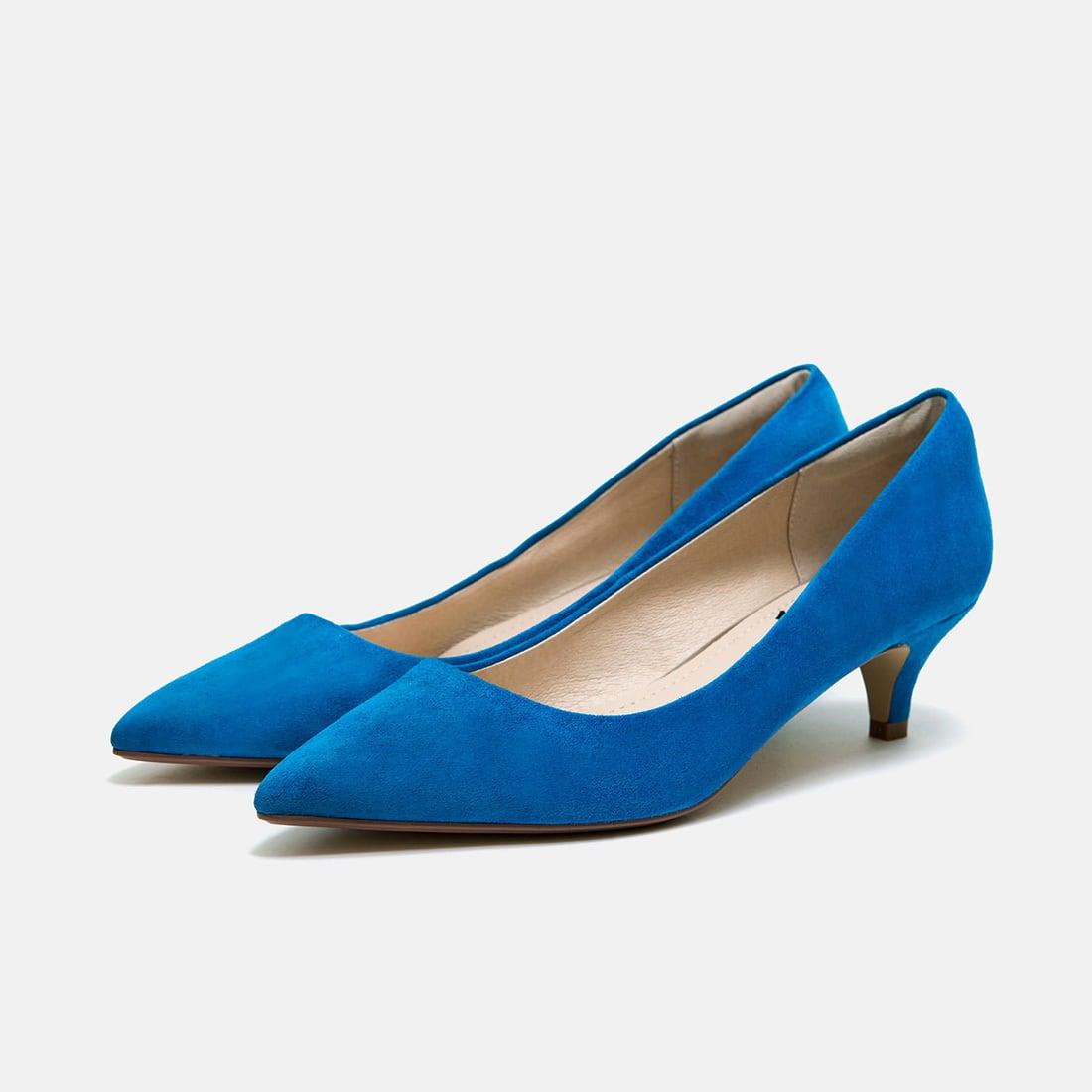 【一部難あり】リアルレザーポインテッドトゥスエードパンプス:ブルー 24.5cm(OT1381)