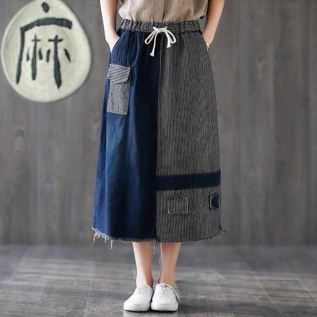 デニム プラスサイズ ハイウエスト カジュアルルーズロングスカート