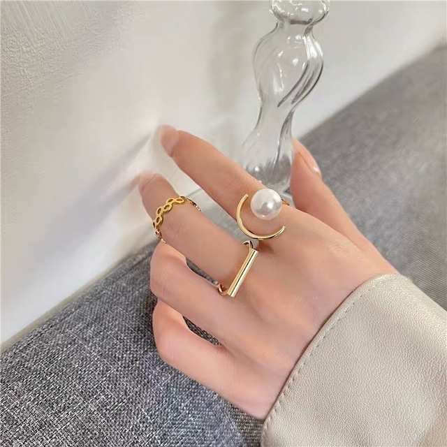 gold pearl ring 3peace
