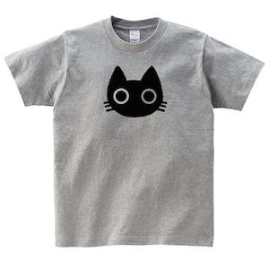 黒猫 Tシャツ メンズ レディース 半袖 かわいい シンプル ゆったり おしゃれ トップス グレー 30代 40代 大きいサイズ 綿100% 160 S M L XL