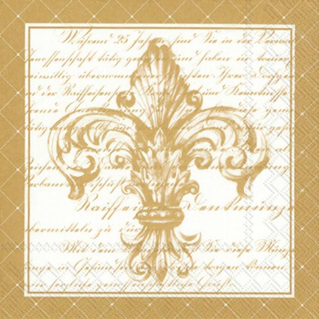 【IHR】バラ売り2枚 ランチサイズ ペーパーナプキン FRENCH FLEUR DE LIS ゴールド