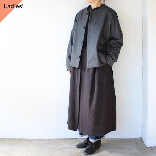 SETTO ウールノーカラージャケット Raffine Jacket グレー