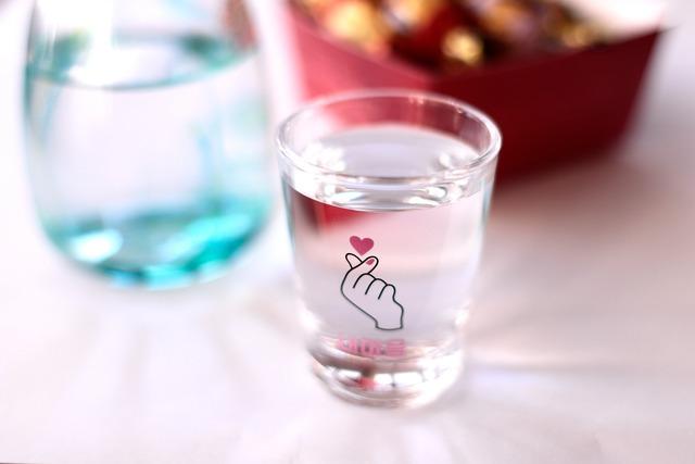 『期間限定』 『冷感グラス』『キュンマーク』『ショットグラス』 * 冷感 温度で変化 キュンマーク ハート ソジュ 焼酎 演出 インスタ映え ショットグラス 贈り物