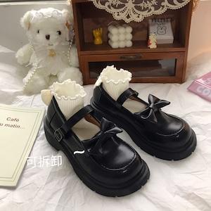 7407パンプス レディース メリージェーン 黒 ロリータ シューズ 靴 厚底 ミディアムヒール コスプレ靴  LOLITA レザーシューズ 革靴