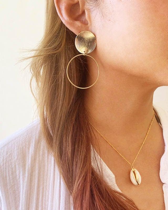 Gold hoop pierced earrings / on the beach    OBH-013