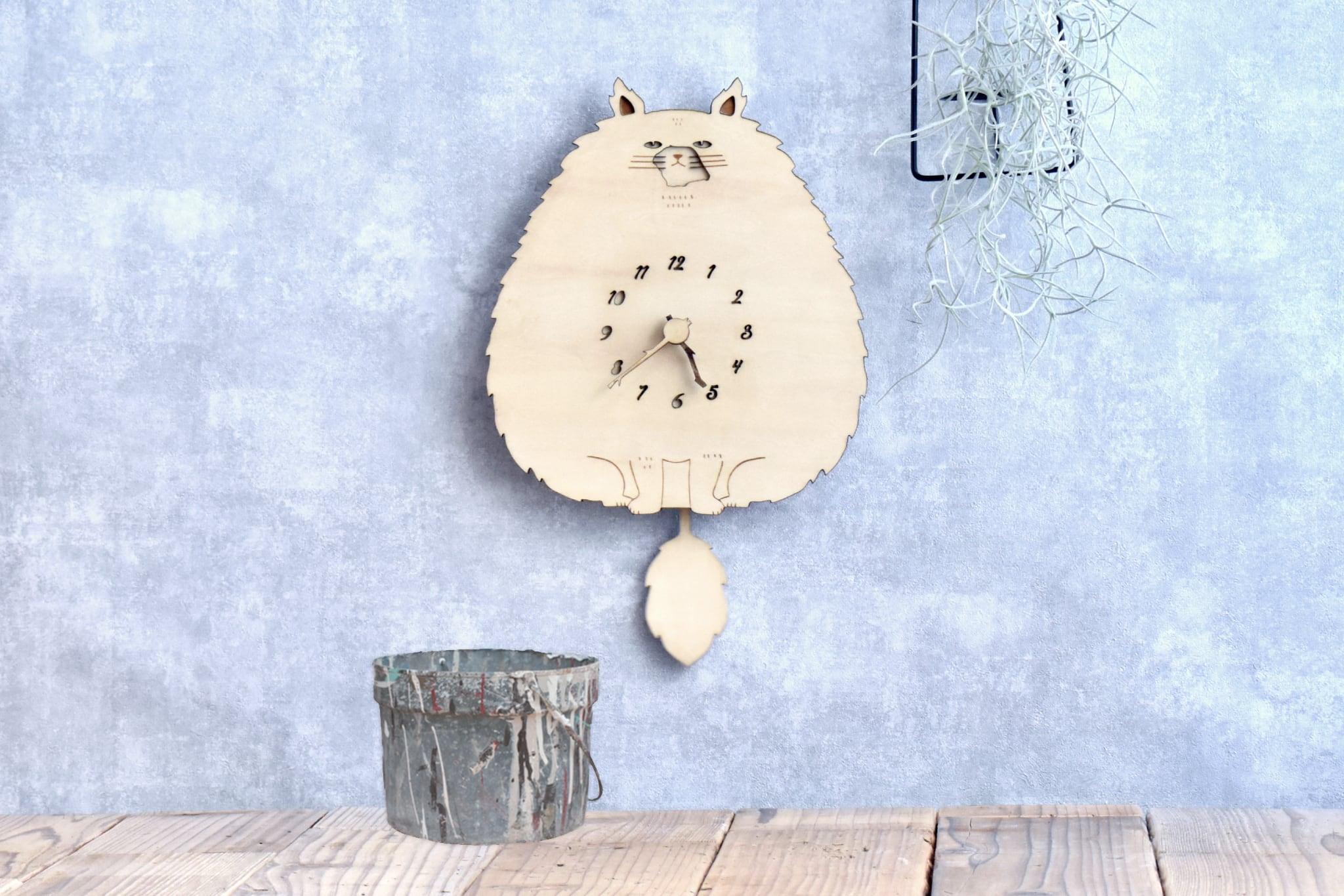 モフねこの時計 木製 掛け時計 振り子時計