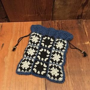 Indigo yarn Granny Square Drawstring bag / インディゴ ヤーン グラニースクエア 巾着