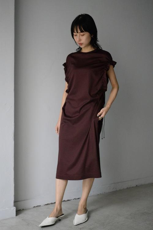 LOKITHO / GATHERED SLEEVE DRESS (brown)